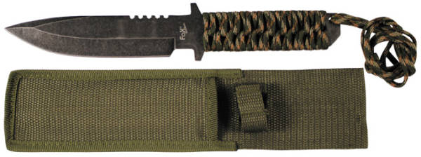 Kés rögzített pengével, fekete, fonatos nyél camo-0